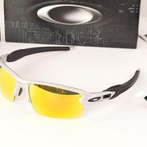 NIB Oakley Flak 2.0 Silver Fire Iridium Sunglasses